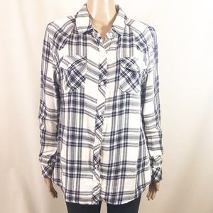 Rails Lined Button Down Plaid Shirt Navy White